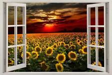 Sunflower Field Sunset 3D Window Decal Wall Sticker Art Mural Flowers H564