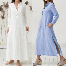 Robe caftan coton simple décontractée surdimensionnée maxi Longue chemise Femme