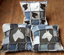 English Bull Terrier Cushion Covers. Handmade Patchwork Denim EBT Pillow Covers