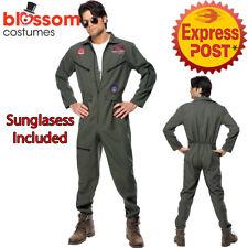 CA489 Mens Top Gun Costume Retro Aviator Pilot 1980s Military Jumpsuit + Glasses