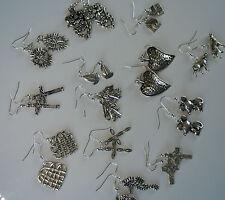 Tibet or Silver Plated Charm Drop Pierced Earrings -