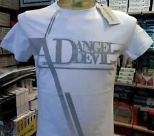 T-shirt maglia uomo Angel Devil girocollo con stampa logo frontale art TU81