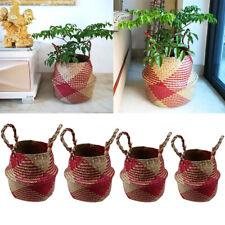 Foldable Handmade Storage Basket Folding Wicker Rattan Seagrass Straw Garden