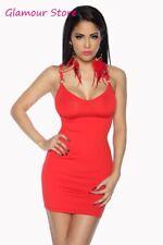 SEXY mini abito ROSSO taglia unica S/L vestito corto donna GLAMOUR