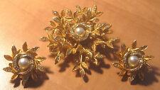 Stunning Vintage Alice Caviness Faux Pearl Rhinsestones Snowflake Pin & Earrings