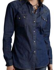 Roper Western Shirt Womens L/S Denim Snap Blue 03-050-0594-6030 BU