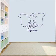 Personnalisé Dumbo Elephant Wall Art Decal autocollant Filles/Garçons Nursery Chambre