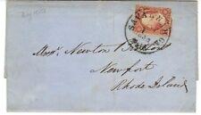 "US 1858 ""SAVANNAH GA PAID MAY 1 1858"" FRANKED 3¢ WASH PERF TYPE I TO RHODE ISLND"