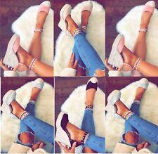 Damen Komfort hohe Keil Absatz Stecker Espadrille Damen Sommersandalen Schuhe
