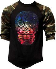 Men's Galaxy Skull Camo Baseball Raglan T Shirt Day of the Dead Space Rave EDM
