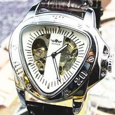 Winner Automatic custodia in acciaio inossidabile cinturino in pelle faccia triangolo Scheletro Orologio