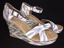 Toms Sierra Strappy Platform Cork Wedge Sandal Sandals White Blue Boho Hippie