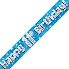 Azul Happy 11 cumpleaños METALIZADO Letrero De Fiesta Decoración Estrellas