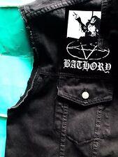 Bathory Cabra Black Metal Girls 'Denim Cut-Off Parche chaleco chaqueta talla. 8-16