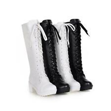 Damen Schuhe Stiefel Overknie Stiefel Wedge Lederstiefel schwarz Gr.36-41