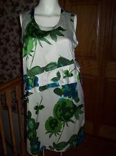 Simply Vera Wang Sleeveless Green Ruffle Floral Dress NWT $78 Petite Small Cream
