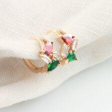 Green and Red Christmas Earrings Cubic Zirconia Small Hoop Earrings