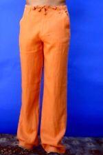 Linen Beach Pants - Pumpkin Orange Draw String for Groom's Destination Weddings