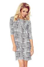 NUMOCO 88-15 Dress with 3/4 sleeves - black/white pattern, sizes 8 10 12 14 16