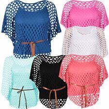 Damen Plus Größe Tie Belted Crochet Flügel-Oberseiten Mesh-Jumper Tops 40-54