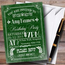 Vintage Retro Green Personalised Birthday Party Invitations