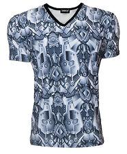 Men's Steel Armour Panels Metallic Body Armor Print V-Neck T-Shirt Top Tee