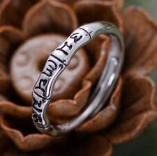 925 Sterling Silver Tibetan Om Mani Padme Hum Adjustable Ring Women A3822