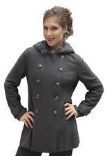 Women's Superfine Woven Hooded Alpaca Wool Coat Faux Fur Accent Hood