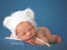 Hand Crochet Knitted Baby Hat Teddy Bear White Photo Prop Boy Girl Newborn-6M