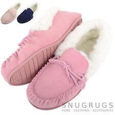 SNUGRUGS Ladies Womens Lambswool Sheepskin Moccasin Slipper Hard Sole Wool Cuff