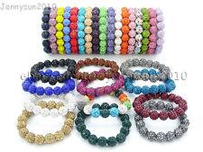 12mm Czech Crystal Rhinestones Pave Clay Round Disco Beads Stretchy Bracelet