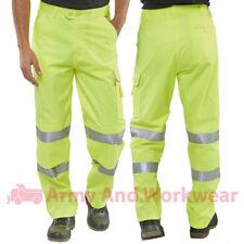 BSeen HI Viz Combat Class 1 EN471 Yellow Workwear Trousers Knee Pad Pockets Mens