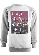 LOS ANGELES CITY LA HIPSTER FASHION BASEBALL SWEATSHIRT GREY AND WHITE