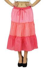 Bimba Women's Tricolor Flaired Cotton Boho Summer Skirt Elastic Waist Mid-Calf R
