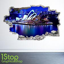 Sydney Opera House Pared Adhesivo 3D Look-Dormitorio Salón Ciudad de la etiqueta de la pared Z24