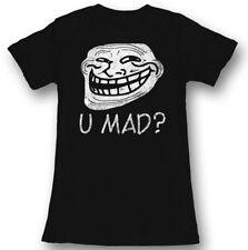 Troll Face You Mad? Juniors Black Lightweight T-Shirt