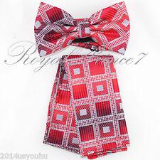Men's Square Plaids Design Bow tie and Hanky Set Wedding Party Prom BT624