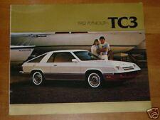 1982 Plymouth TC3 Car Automobile Sales Brochure MINT