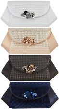 Ruby Shoo Glamorous Jewelled Brocade Porto Clutch Bag Silver Rose Gold SONIA