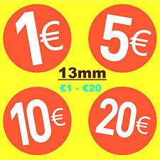 13mm Rojo Brillante Euro € Precio Pegatinas/Etiquetas Adhesivas-Swing tag Etiquetas