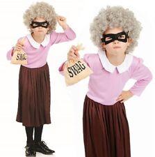 Girls Gangsta Granny Fancy Dress Costume Gangster Burglar Book Day Outfit New