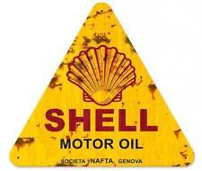 Vintage Gas Station Shell Motor Oil Gasoline Metal Sign Man Cave Garage BodyShop