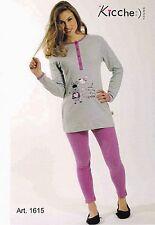 Pyjama Femme Long, Jersey Long, Leggings dans chaud coton. KICCHE JEUNE - 1615