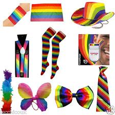 Rainbow GAY Pride Carnevale Addio al Celibato Nubilato Festa Parrucca Cappello Cravatta Calzini BOA Accessorio