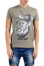 Roberto Cavalli Men's Gray Graphic Fighting Crewneck T-Shirt Size S M L XL 2XL