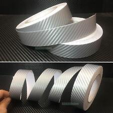 """1.2"""" Wide Silver Car 3D Texture Carbon Fiber Vinyl Tape Wrap Film Sticker - AB"""