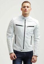 Handmade Men Soft Genuine Lamb Leather Jacket Slim FIT White ZF 332