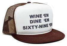New Retro WINE 'em DINE SIXTY-NINE 69 Dumb and Dumber Sea-bass Hat Cap Flat Bill