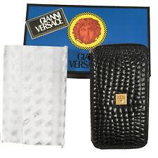 NEW IN BOX Vintage 90's Gianni Versace Faux Crocodile Large Zipper Wallet  Black