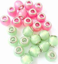 Fancy Big Hole German Acrylic beads CHOOSE COLOR!!